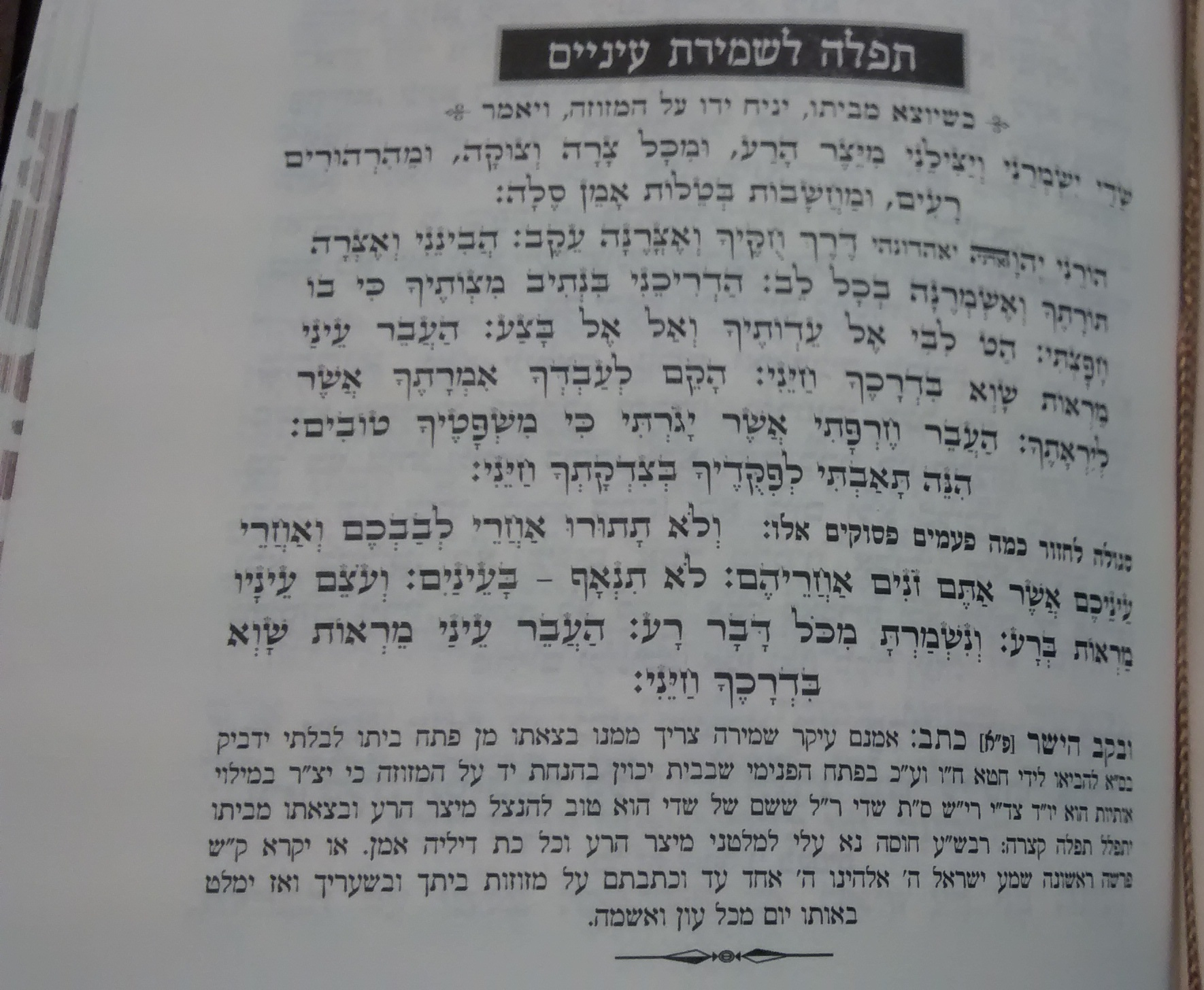 Prayer and Segulah for Shmiras Ainayim